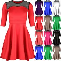 Womens Swing Dress Ladies Top Lace Mesh Flared 3/4 Sleeve Mini Skater Dress 8-22