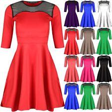 Womens Swing Dress Ladies Top Lace Mesh Flared 3/4 Sleeve Mini Skater Dress 8-22