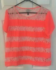 HD in Paris Anthropolgie Women's SZ 14 White & Coral Floral Lace Top Blouse-EUC!