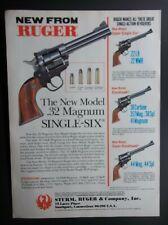 1985 Ruger .32 Magnum Single Six Revolver Pistol .44 Magnum Vintage Magazine Ad