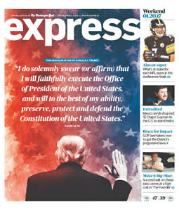Donald Trump Inauguration Washington Post Newspaper 2017 DC Capitol President