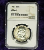 1957 Franklin Silver Half Dollar MS66, NGC MS 66 Silver 50C Coin, Nice Luster