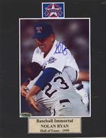 Nolan Ryan hitting Robin Ventura Autographed 4x6 Photo on 8x10 mat COA signed