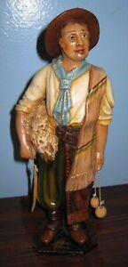 GIMENEZ pottery MAN & TOOLS statue figurine Brazil Folk SIGNED Tlaquepaque style