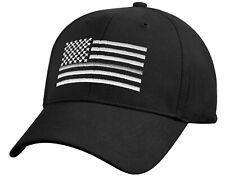 Prison Guard Hat Baseball Cap Ballcap US Flag Thin Silver Line Black Rothco 7880
