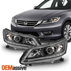 Fits 2013 2014 2015 Honda Accord 4-Door Sedan Halogen Models Headlights - Black