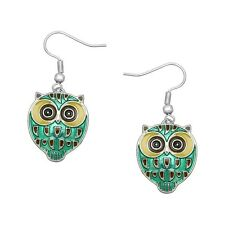 Green Owl Fashionable Earrings - Enamel - Fish Hook - Rhodium Plated