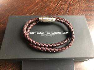 Porsche Design Bracelet Double Grooves 2.0 Marsala Red cow leathers 20 cm NEW