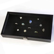 Rings Display Box Glass Top Lid Large Case Medals Awards Jewelry Black P Leather