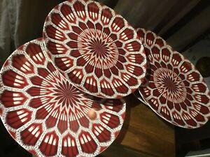 Williams Sonoma Schumacher Bukhara Ikat Dinner Plates RED Set of 4