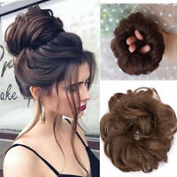 Women Curly Messy Bun Hair Piece Scrunchie Updo Cover Hair Extensions US Sale