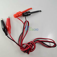 New 1 pair 57mm hook test clip to dual Alligator clip test probe cable 1M 3FT