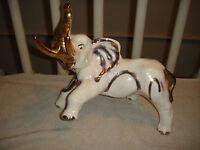 Vintage Elephant Ceramic Glaze Pottery Gold Accent Markings Large Size Leg Up