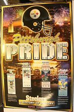 """Pittsburgh Steelers Pride History of Victory Super Tickets 36 x 24"""" Poster"""