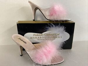 Frederick's of Hollywood Glamour Girl Marabou Feather Slippers Shoes Pink Size 6