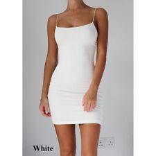 Sexy Women Solid Spaghetti Strap Stretchy Package Mini Dress Short Club Dresses