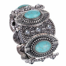 retro Silver Turquoise Chunky wide Bangle Cuff Bracelet birthday Jewelry gift