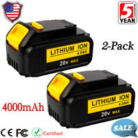 2X 20V XR 4.0Ah Max Lithium Ion For Dewalt DCB204-2 20Volt Battery DCB200 DCB205