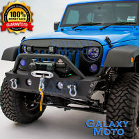 Stubby Rock Crawler Front Bumper+Fog Light Mount Hole for 07-18 Jeep JK Wrangler