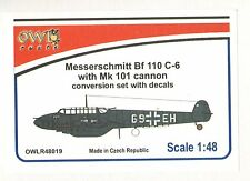 Owl 1/48 Messerschmitt Bf-110C-6 with Mk.101 Cannon Conversion Set with Decals #