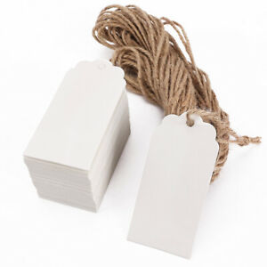 100 x weiß Geschenkanhänger Papieranhänger Kartonetiketten Hangtags mit Hanfseil