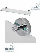 Moderne croydex bergen étagère en verre mural salle de bain étagère chrome flexi-fix