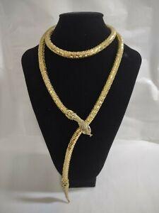 Vintage Estate Whiting and Davis Gold Mesh Snake Necklace/ Belt Signed Excellent