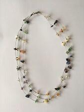 Delicate Gemstone Triple Strung Necklace