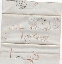* 1856 ITALIANO Stati SPEZIA lettera-dopo la partenza = troppo tardi > LIVORNO ITALIA