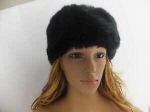 BNWT Ladies Luxury Faux Fur Black Russian Style Cossack Hat One Size 57cm dia