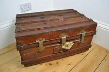VICTORIAN ORIENTAL STEEL TRUNK COMPANY METAL CASE SUITCASE CHEST GREAT PATINA