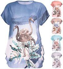 Womens Plus Size Flamingo Top Bird Sequin Floral Print Cap Sleeve Long T-Shirt