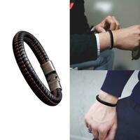 Mens Fashion Punk Leather Wrap Braided Wristband Cuff Bangle Bracelet Punk C1X8