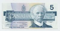 1986 $5 Bank of Canada Note Thiessen Crow EF/AU