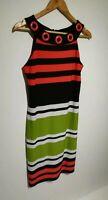 Joseph Ribkoff UK 10 Green Red Striped Sleeveless Pencil Dress Neck Detail