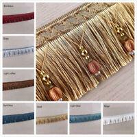 1M/2M Luxury Exquisite Beaded Tassel Trim Fringe Braid Trimming Pom Pom 10 Color