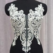 Bordado Floral Blanco Apagado motivo de boda encaje de corte de novia de encaje y apliques de 1 piezas