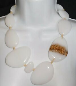 Sobral  Orlando Carcassione Luminescent White & Gold Bead Artist Made Necklace