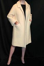 S-M Cream Nubby Wool Vtg 50s Braid Accent Open Swing Stroller Outwear Dress Coat