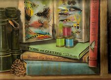 BOOKS, FISHING LURES, DUCK DECOY  WALLPAPER BORDER  CL41162