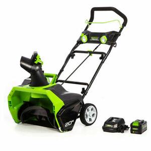"GreenWorks 2605302 40V CORDLESS 20"" BRUSHLESS SNOW BLOWER W/ LED LIGHTS AND 6.0"