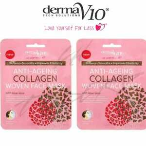 DermaV10 Anti-Ageing Face Mask with Aloe Vera ALL SKIN TYPES Soft Skin Pack of 2