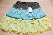 BODEN  3 colour 100% silk crinkled  SKIRT size 12R NEW  stretch waist