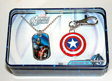 Avengers Captain America Dog Tag & Key Chain Sheild Tin Box New NOS 2012 $50 Val