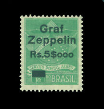 """BRAZIL 1930 AIRMAIL - """"Graf Zeppelin"""" surcharged 5$000/1300r green Sc# 4CL6  MLH"""