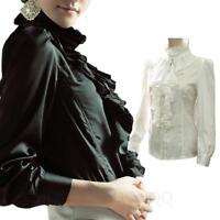 Frilly Shirt Career Blouse Womens Button Down Glamour Victorian Top Plus size
