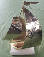 Mid Century Modern Nautical Sail Boat Brass Quartz Sculpture Art of Isiah 40:31