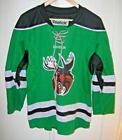 Reebok Mens S M Manitoba Moose AHL Hockey Jersey Green White & Black