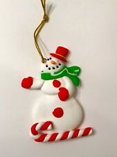 Snowman Polymer Clay Xmas Tree Ornament Peppermint Candy Cane Tree Hat Star