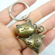 Fashion Creative Key Chain Ring bronze Cat Keyring Keychain Free Shipping